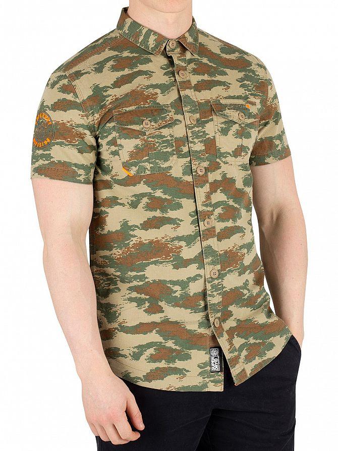 Superdry Dispersal Green Camo Rookie Parachute Lite Shortsleeved Shirt