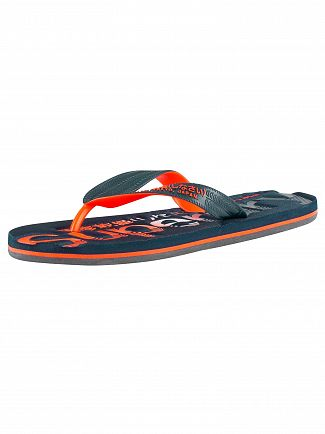 Superdry Dark Navy/Fluro Orange Scuba Faded Logo Flip Flops