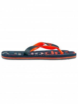Superdry Dark Navy/Fluro Orange Scuba Faded Logo Flip Flops