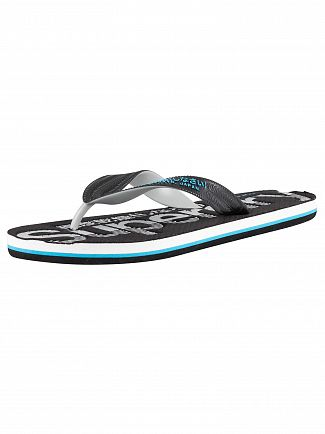 Superdry Black/Grey/Fluro Blue Scuba Perforated Flip Flops