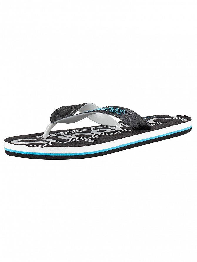 Superdry Black/Grey/Fluro Blue Scuba Perforated Flip Flops