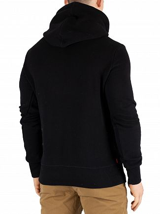 Superdry Black Vintage Logo Monochrome Pullover Hoodie