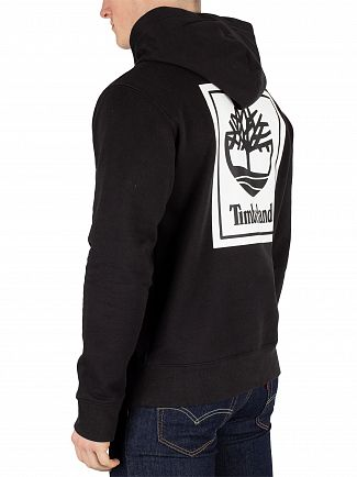 Timberland Black Stack Logo Pullover Hoodie
