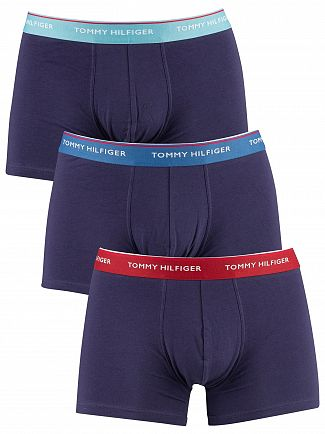 Tommy Hilfiger Stillwater/Dark Blue/Red Dahlia 3 Pack Premium Essentials Trunks