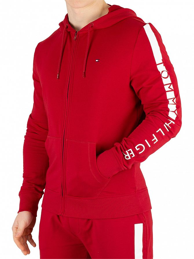 Tommy Hilfiger Red Dahlia Logo Zip Hoodie
