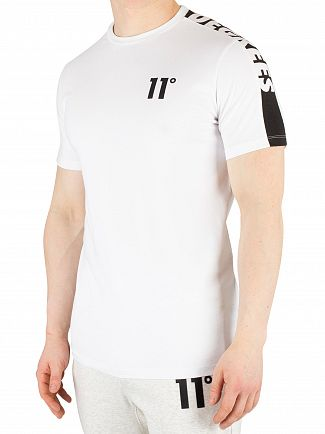 11 Degrees White Cut Off Panel T-Shirt