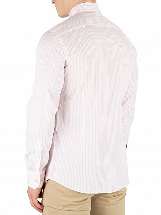 Hackett London Pink/White Bengal Stripe Slim Fit Shirt