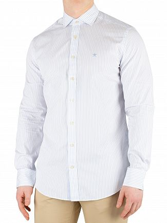 Hackett London Sky/White Bengal Stripe Slim Fit Shirt