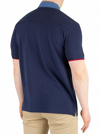 Hackett London Navy Chambray Slim Fit Poloshirt