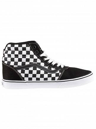 Vans Black/White Ward Hi Checkerboard Trainers