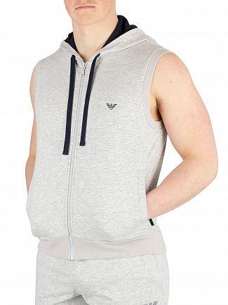 Emporio Armani Grey Melange Sleeveless Loungewear Zip Hoodie