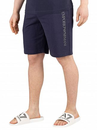 EA7 Navy Blue Graphic Sweat Shorts