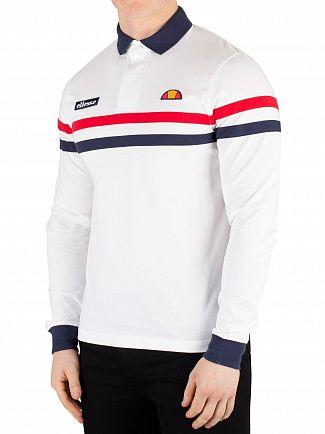 Ellesse White Stevo Longsleeved Poloshirt