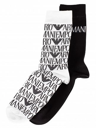 Emporio Armani White/Black 2 Pack Calza Logo Socks