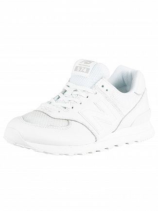 New Balance White 574 Leather Trainers