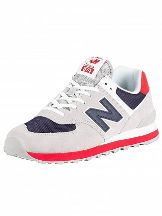 New Balance Grey/Navy/Red 574 Suede Trainers