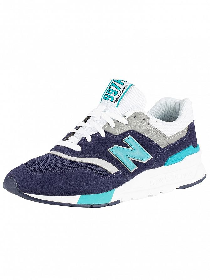 New Balance Navy/Green 997 Suede Trainers