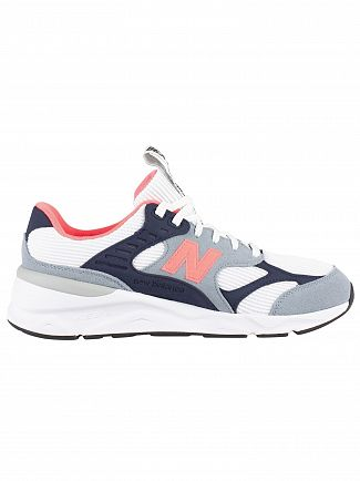 New Balance Grey/White/Navy X-90 Suede Trainers
