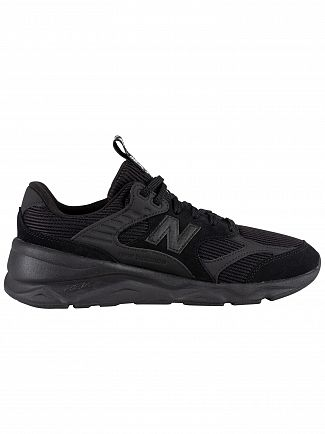 New Balance Black/Black X-90 Suede Trainers