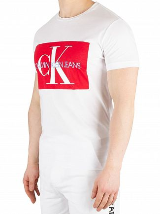 Calvin Klein Jeans Bright White/Racing Red Monogram Box Logo T-Shirt
