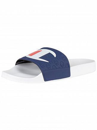 Champion White/Navy Logo Sliders