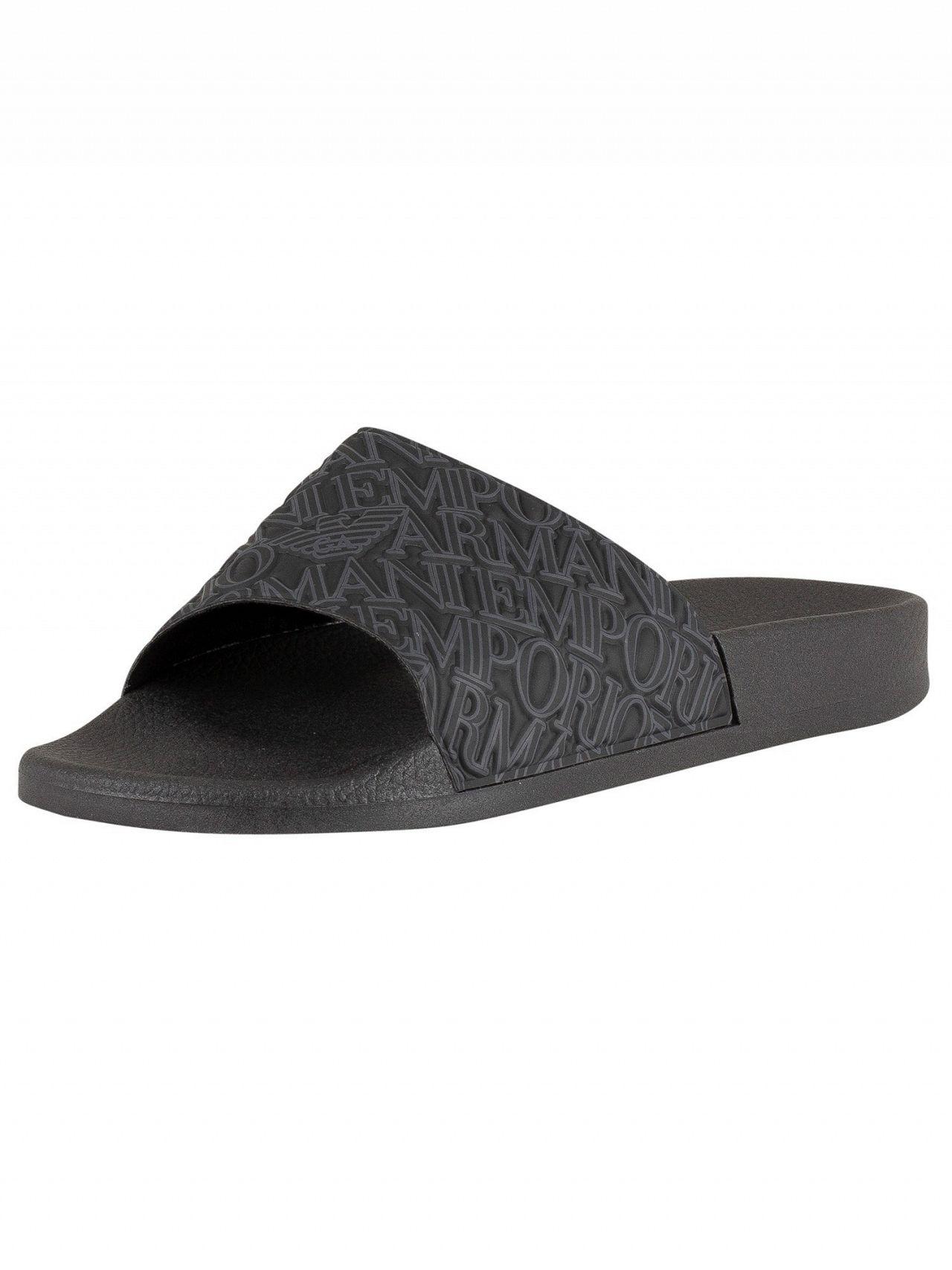 a88b060c25df Emporio Armani Black Allover Logo Sliders