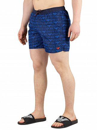 Emporio Armani Blue Navy Printed Swim Shorts