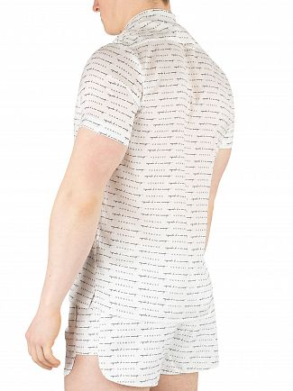 Hermano White All Over Print Cuban Shortsleeved Shirt