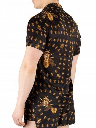 Hermano Black Bee Print Cuban Shortsleeved Shirt