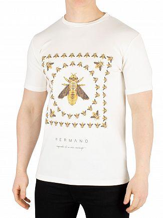 Hermano White Box Bee Print T-Shirt