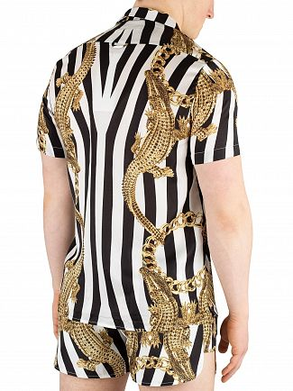 Hermano Black/White/Gold Crocodile Print Cuban Shortsleeved Shirt