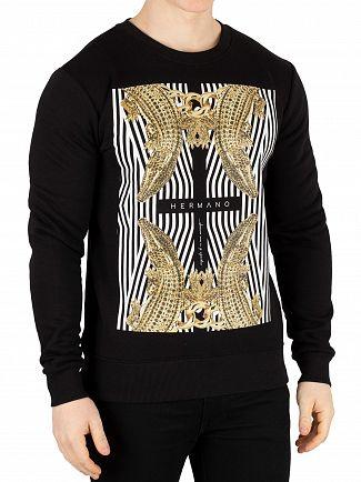 Hermano Black/Gold Cross Crocodile Sweatshirt