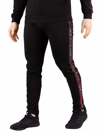 Hermano Black/Red/White Forefont Taped Joggers