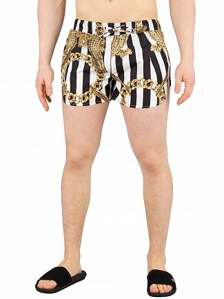 Hermano Black/White Printed Beach Swim Shorts
