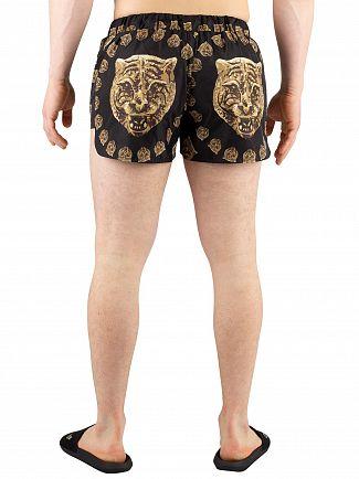 Hermano Black Gold Tiger Print Beach Swim Shorts