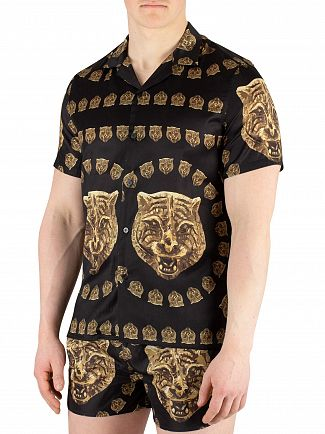 Hermano Black/Gold Tiger Print Cuban Shortsleeved Shirt
