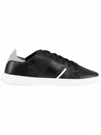 Lacoste Black/Grey Novas 119 1 SMA Leather Trainers