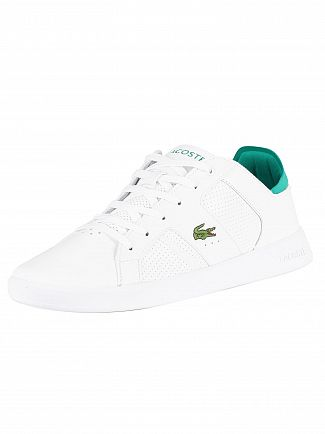 Lacoste White/Green Novas 219 1 SMA Leather Trainers