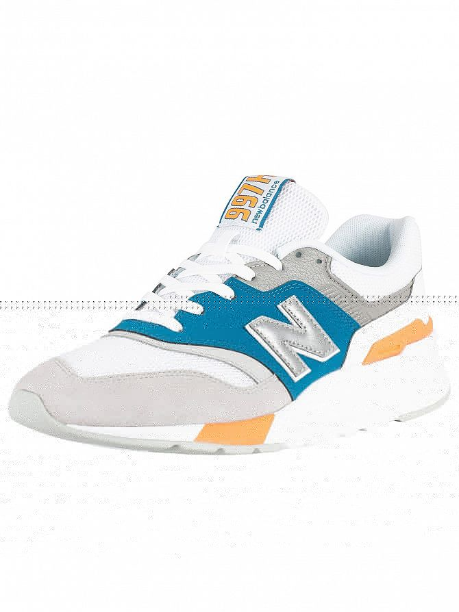 New Balance Grey/White/Blue 997 Suede Trainers