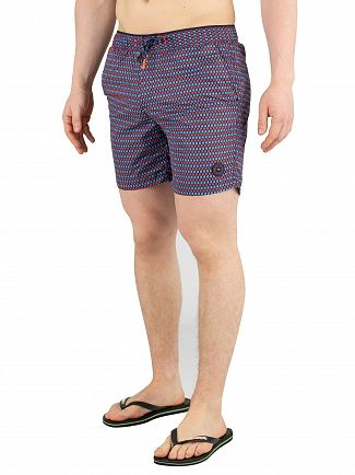 Scotch & Soda Blue/Red Colourful Swim Shorts