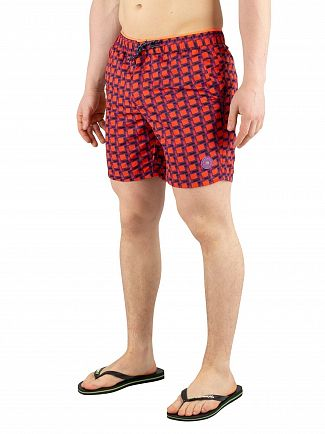 Scotch & Soda Red Colourful Swim Shorts