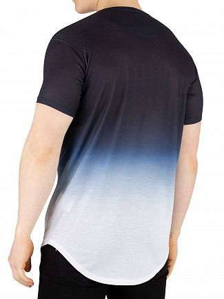 Sik Silk Dark Navy/White Curved hem Tri Fade T-Shirt