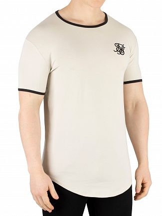 Sik Silk Light Beige Ringer Gym T-Shirt