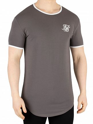 Sik Silk Grey Ringer Gym T-Shirt