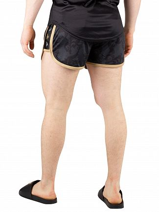 Sik Silk Black/Gold Runner Tape Swim Shorts