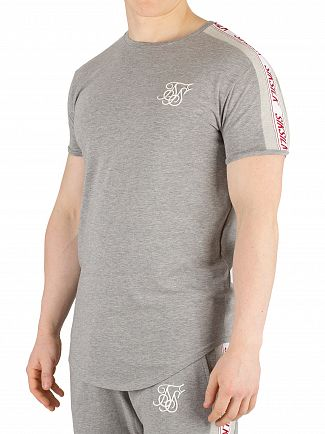 Sik Silk Grey Marl Tape Gym T-Shirt