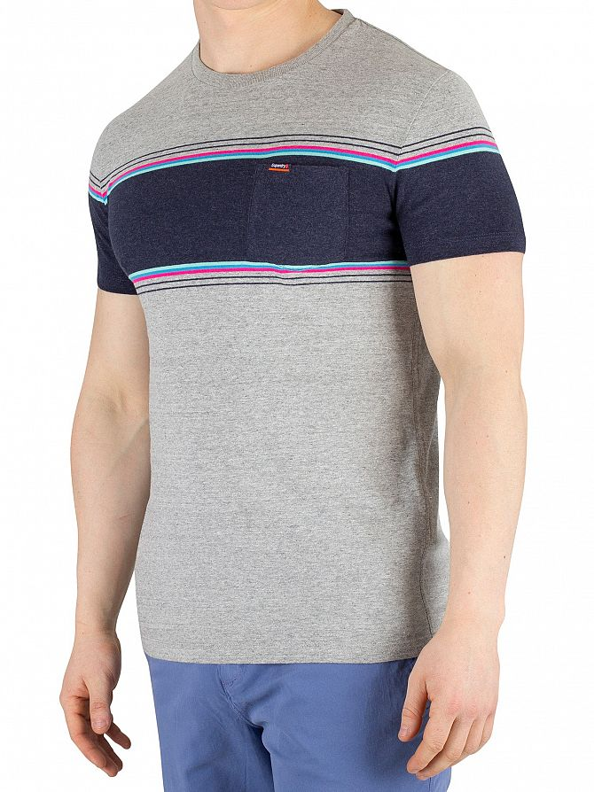 Superdry Mid Cali Grey Grit Orange Label Chestband Pocket T-Shirt