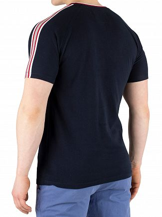 Superdry Eclipse Navy Orange Label Tipped Sports Stripe T-Shirt