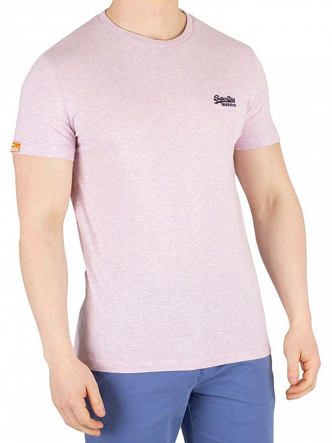 Superdry Pink Pale Marl Orange Label Vintage Embroidery T-Shirt