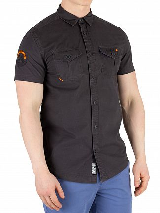 Superdry Washed Black Shortsleeved Rookie Parachute Lite Shirt